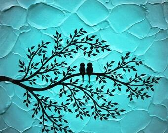 Love birds Art Print, Birds on tree Art, Turquoise Wall art, Birds on tree, Love art gift, Original birds art print 12x12 , Birds decor