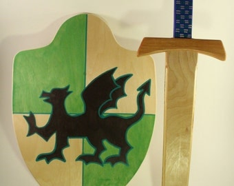 Wooden sword and shield set- Wooden sword - Wooden shield - Waldorf Toys - Pretend play - Knight Toys-Knight costume