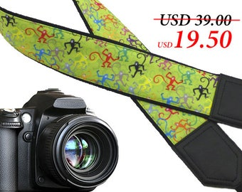 Monkey camera strap. Green DSLR / SLR Camera Strap. Camera accessories. Great Gift by InTePro