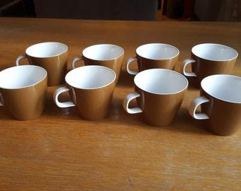 8 Mikasa Cera-Stone Brown Coffee/Tea Cups