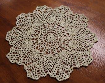 New Hand Crocheted Doily - cream