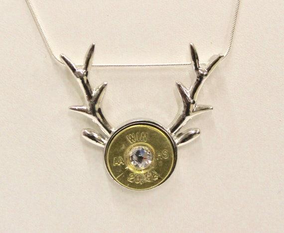 Deer Antlers Shotgun Crystal Pendant on Sterling Silver Chain, Deer Hunter, 20 Gauge Shotgun Shell Head, Gift For Her, Deer Hunting Jewelry