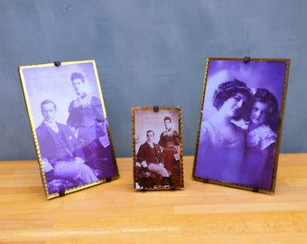 3 Victorian Glass and Mirrored Photograph Frames Vintage Photo Frame Antiques Photo Frame