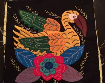 Mola Textile:  Tropical Bird with Flowers