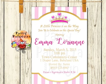 Printable Pink and Gold Princess Baby shower invitation