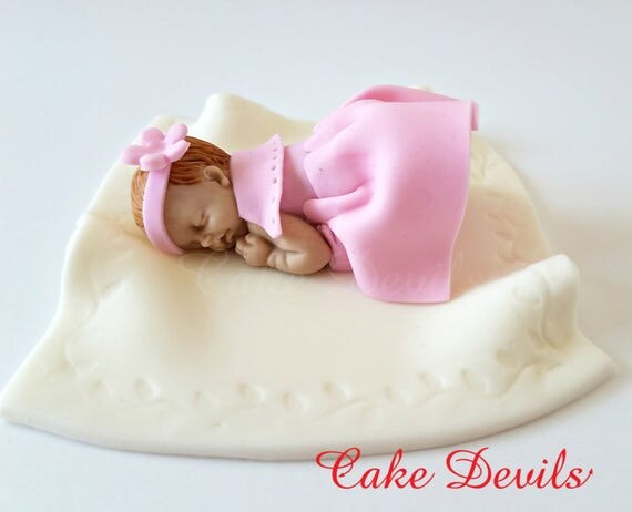 fondant baby girl in dress cake topper sleeping baby cake