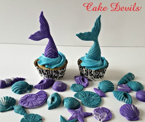Mermaid Tails and Sea Shells Fondant Cupcake Toppers ...