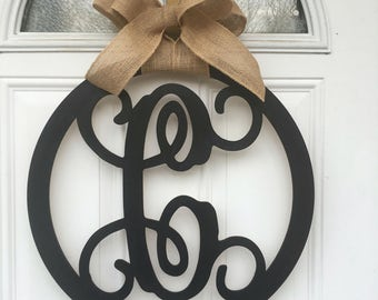 Monogram door hanger, monogram wall decor, name door hanger, custom monogram door hanger, round door hanger, wooden door hanger