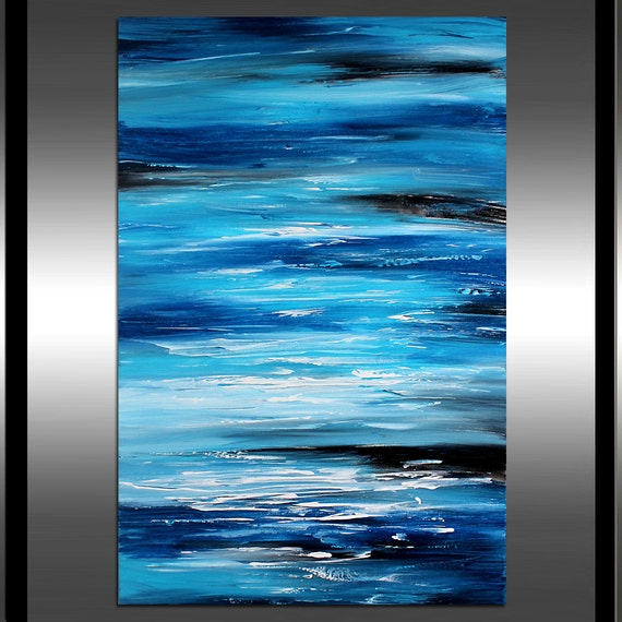 ocean beach wall art teal abstract painting blue extra large. Black Bedroom Furniture Sets. Home Design Ideas