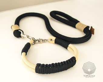Dog Collar Leash set Black rope leash with matching beige rope collar
