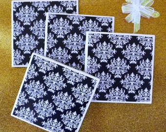 FREE USA s/h, Ceramic Tile Coasters, Black & White Damask Pattern, Set of 4, Hand Made, Fine Art, Table/ Drink Coasters, Home Decor