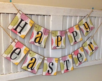 Easter Banner Easter Egg Bunting Garland Sign Colorful Spring Decor Adorable Photo Prop Durable Chip Board