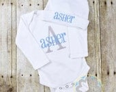 Baby Gift Set - Monogrammed Personalized Infant Bodysuit and Hat Set