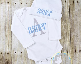 Baby Gift Set - Monogrammed, Personalized Infant Bodysuit and Hat Set - Baby Gift - Baby Shower Gift