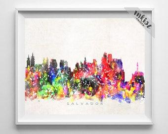 Salvador Skyline Print, Brazil Print, Salvador Poster, Brasil Cityscape, Wall Art, Home Decor, Watercolor Art, Brazil, Christmas Gift