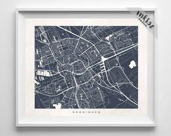 Groningen Map, Netherlands Print, Groningen Poster, Netherlands Art, Bedroom Wall Art, Anniversary Gift, Holiday Gift, 4th of July