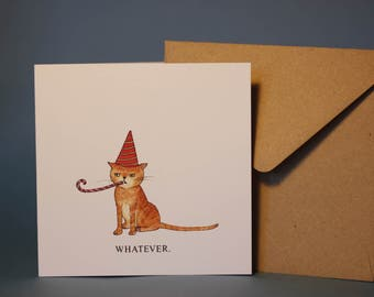 Grumpy Birthday Cat Card (tabby)