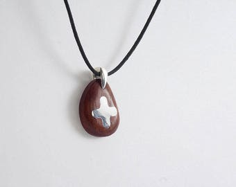PENDANT CROSS BEAN-Shaped Wooden High quality Handmade Jewelry by Silver 925 and Rosewood