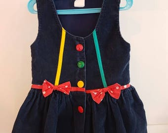 Vintage corduroy / primary colored accented dress Tagged size 2