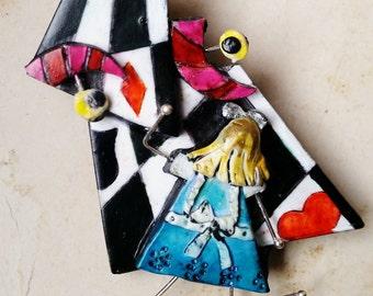 "Brooch, ""Alice in Wonderland.."", polymer clay, unique, handmade, original design"