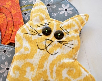 Cat coasters, kitten mug rugs, orange yellow grey coasters, fabric drinkmat, cat gift, teacher gift, cute gift, yellow cat
