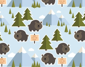 Blue Campers Fabric, Patrick Lose Let's Go Camping, Bare Necessities Multi 63943-A620715 Don't Feed the Bears, Quilt Fabric, Cotton