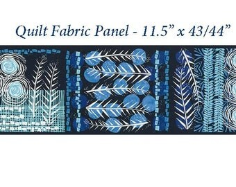 "Indigo Blue Block Print Quilt Fabric Panel, Robert Kaufman, Marks 16357  62 Indigo, Valori Wells, Blue Fabric Panel, 11.5"" x 43/44"", Cotton"