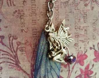 Magical Purple Wing Fairy Charm Keyring