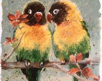 "8"" x 8"" Masked Lovebirds Print on Metal"