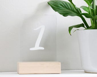 "acrylic calligraphy table number sign: 5"" x 7"" 