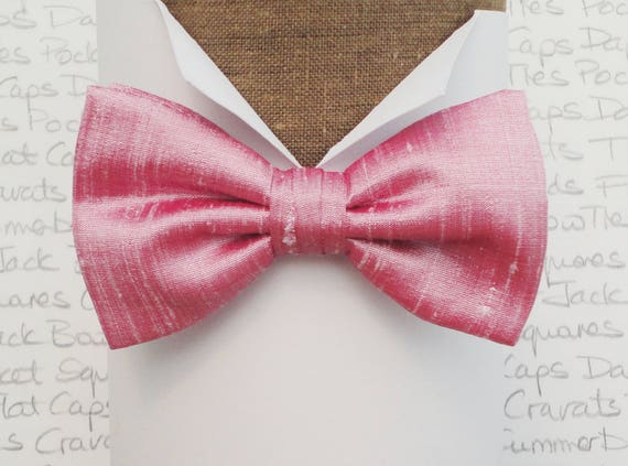 Pink silk bow tie, bow ties for men, bow ties UK, silk dupion bow tie, wedding bow tie