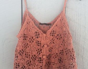 Blush Floral Crochet Tank with Adjustable Straps