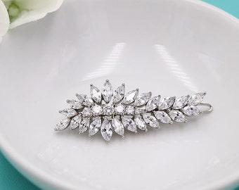 CZ Wedding Clip, Cubic zirconia Comb, Bridal Barrette, Wedding Crystal Hair Clip, Hair Comb, Wedding Accessory, Bridal Clip 512429903