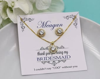 Bridesmaid Jewelry Gold, Bridesmaid Jewelry Set 4 5 6 7 8, Bridesmaid Jewelry Gift, Bridesmaids Jewelry, Karina Gold Bridesmaids Set