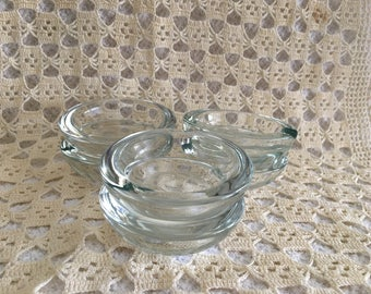 "Glass Ashtrays, Individual Clear Glass Ashtrays, 3"" Wide Clear Glass Ashtrays, Set of 6 Ashtrays,"