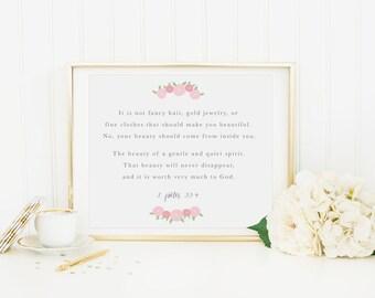 Beauty Scripture Print, 1 Peter 3:3-4, Baby Girl Nursery Wall Decor, Girls Room Art Print, Floral Motivational Wall Art, Digital Download