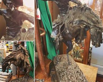 Vintage Remington Bronco Buster Bronze Sculpture Reproduction by Heikka Mint Foundry Cowboy Horse