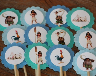 Moana Themed Cupcake Toppers - Set of 12 - Disney Movie