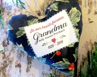 Personalised 'In Memory of' Ornament. Sympathy gift. Remembrance / Memorial Ornament. Choice of Fabric. Gift Boxed.