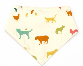 Farm Animal Dribble Bib, Organic Baby Bandana Bib, Horse Cow Chicken Sheep Pig Chick Scarf Bib, Gender Neutral Baby Gift, Animal Baby Bib