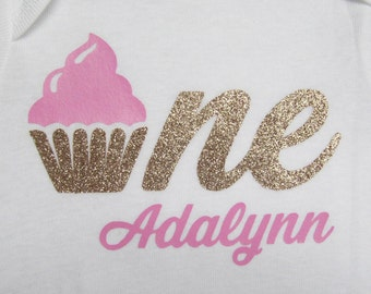 Cupcake One Personalized First Birthday Onesie  - gold glitter vinyl, baby girl, personalized, pink gold, cupcake birthday