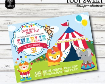 Printable Circus Birthday Invitation - Carnival, Lion, Clown, Monkey, Elephant