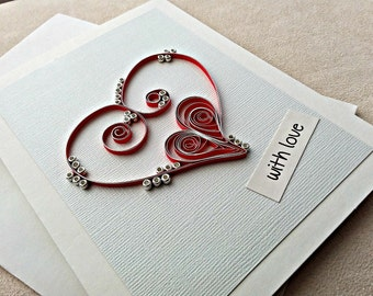 handmade paper quilled greeting card – with love