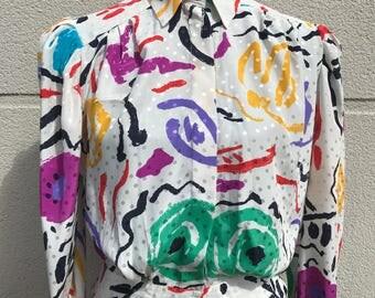 Jacques vert abstract vintage 1980s blouse 80s advant garde retro