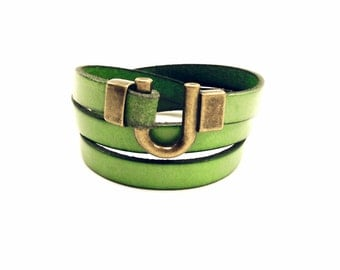 Leather Bracelet Wrap Green Bronze Gold Clasp