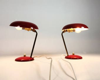 Pair of red lamps, France, 1950's.