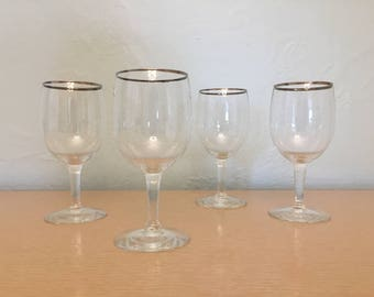 Four Rounded 6 oz Wine Glasses with Silver Rim