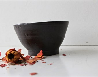 Wood Fired Matte Black Bowl