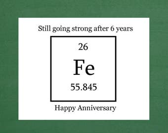 Iron Anniversary Card, Six Year Anniversary, 6 Year Anniversary, Happy 6 Years, 6 Year Wedding Anniversary, Anniversary Gifts, Notecards