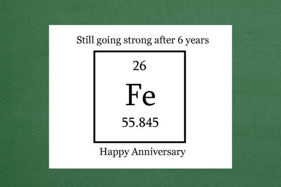 Wedding Anniversary Gifts 6 Years: Iron Anniversary Card Six Year Anniversary 6 Year